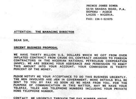 Those Nigerian Scam Emails Spin an Outrageous Yarn for a Reason