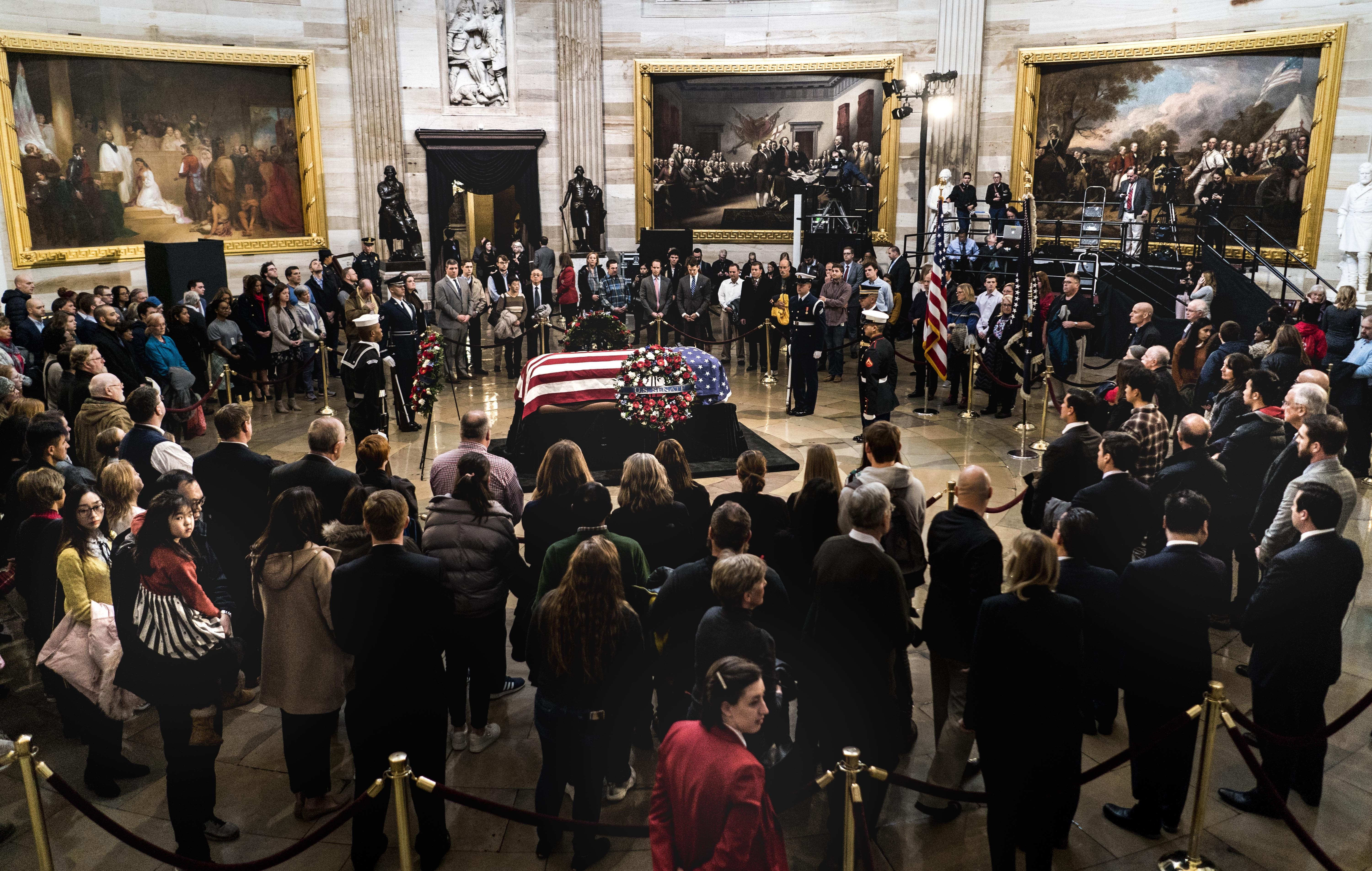 President George H W  Bush funeral watch live now: George W  Bush
