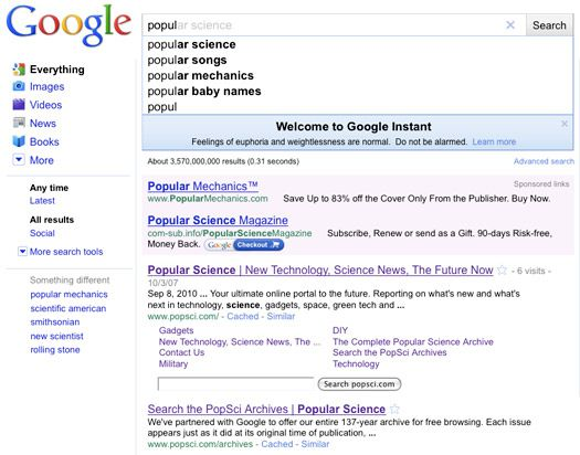 Google Instant Search Displays Full, Real-Time Results As
