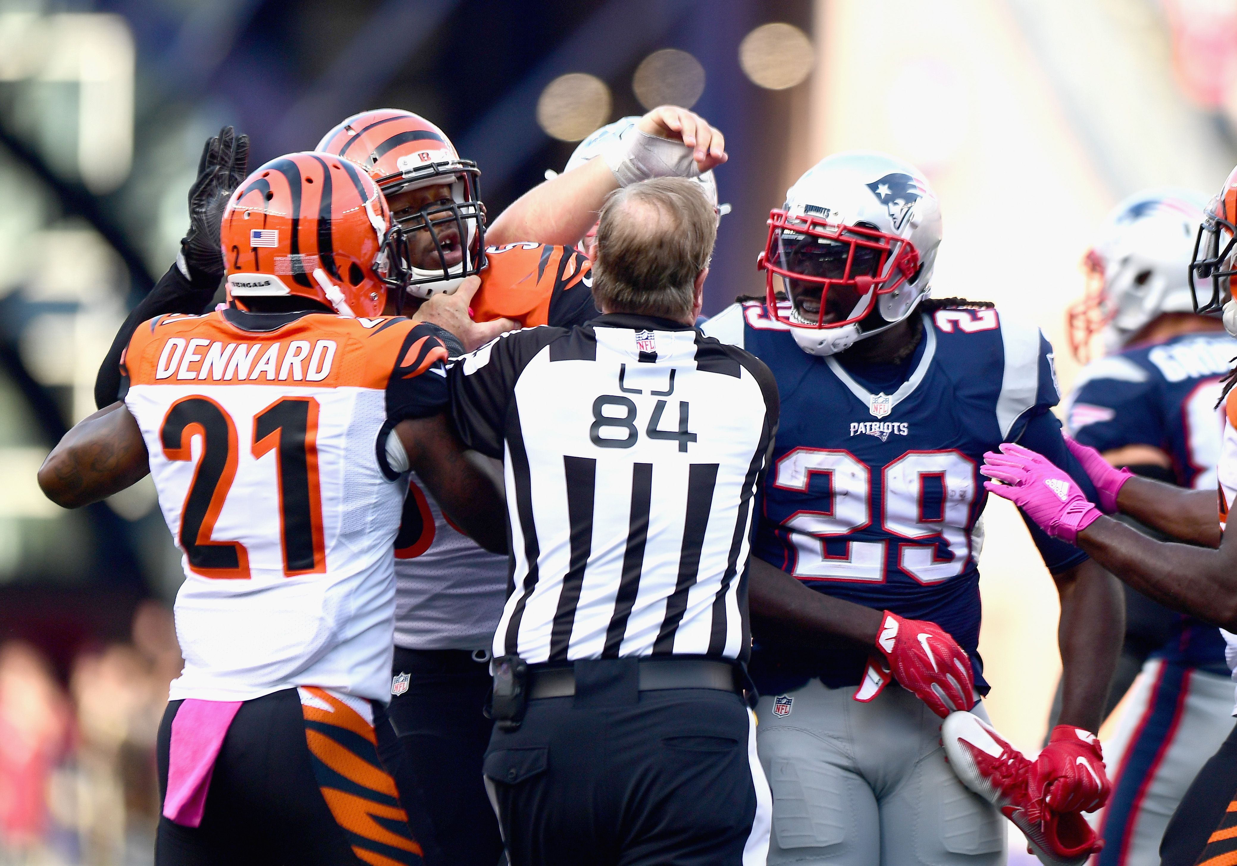 Patriots players fined for actions in Bengals game - The