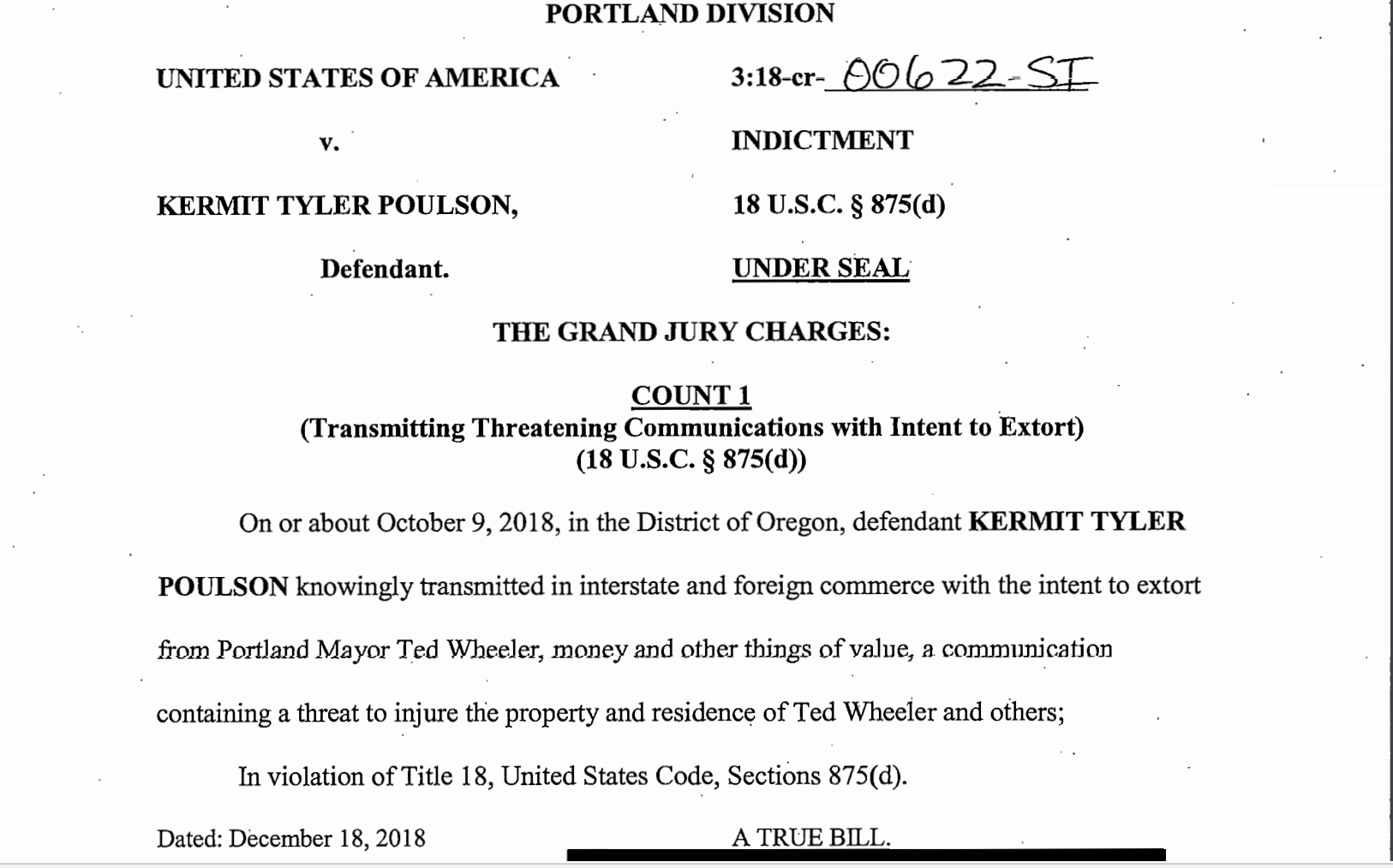 Man accused of threatening to blackmail Mayor Ted Wheeler
