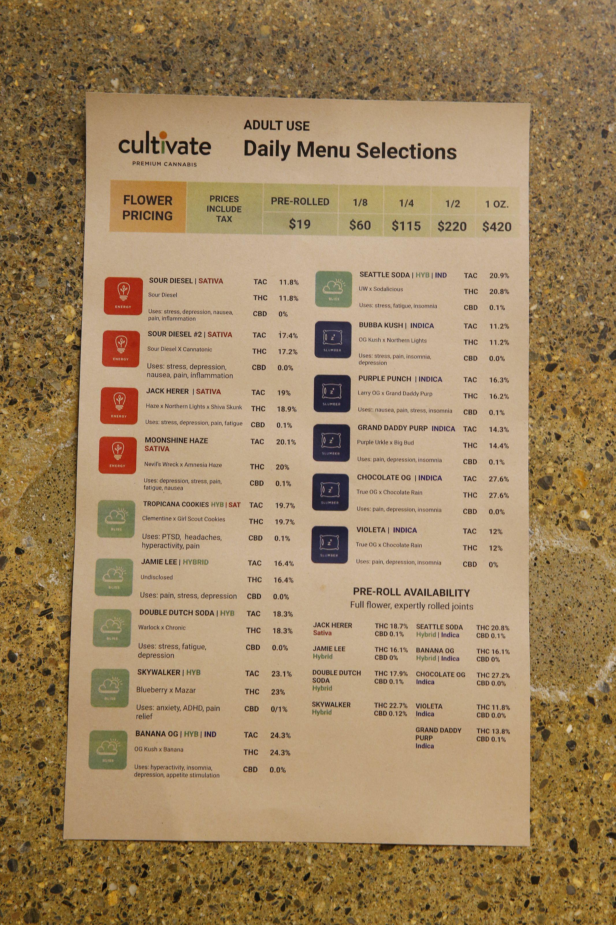 Here are the menus at Massachusetts' first 2 recreational marijuana